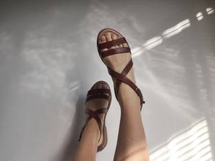 Durban: Jane Sews Leather Strap Sandal